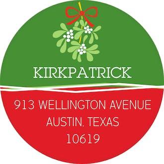 Under The Mistletoe Green Round Address Sticker