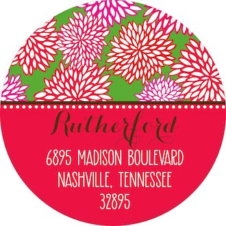 Holiday Floral Round Address Sticker