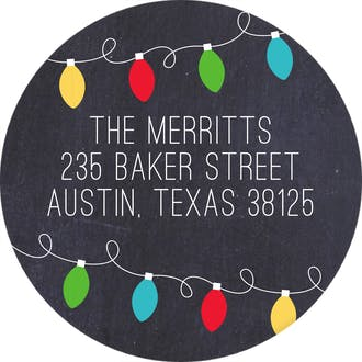 Festive Holiday Lights Round Address Label