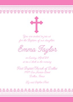 Iron Cross Invitation - Edge Border - Pink