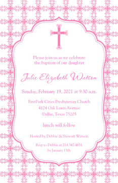 Tile Cross Invitation - Pink