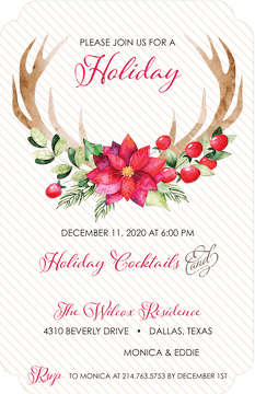 Poinsettia with Antlers Invitation