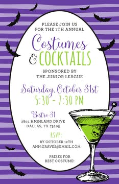Green Martini with Flying Bats Invitation