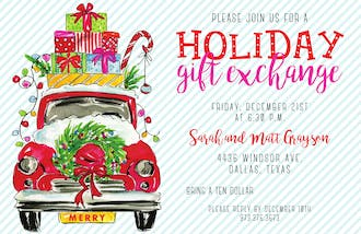 Holiday Car with Gifts Invitation
