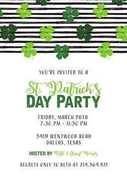 Shamrocks on Stripes Invitation