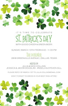 Green Shamrocks Invitation