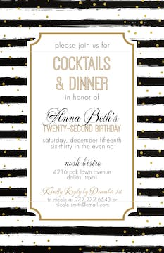 Black Stripes with Gold Dots Invitation