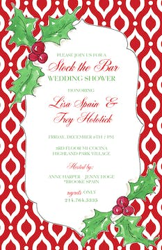 Berries On Red Pattern Invitation