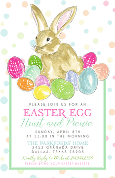 Handpainted Bunny and Eggs Invitation