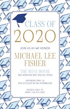 Blue Graduation Caps Invitation