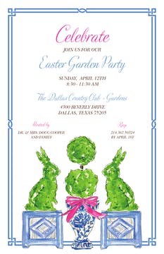 Handpainted Bunny Toparies Invitation