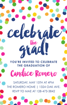 Celebrate the Grad! Confetti Invitation Invitation