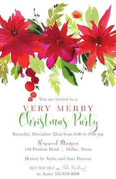 Poinsettias Invitation