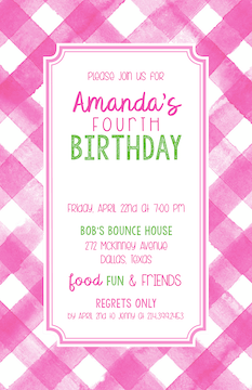 Pink Buffalo Check Invitation