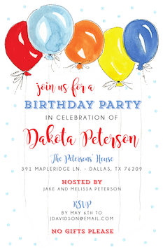 Party Balloons Invitation