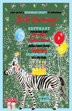 Birthday Zebra Invitation