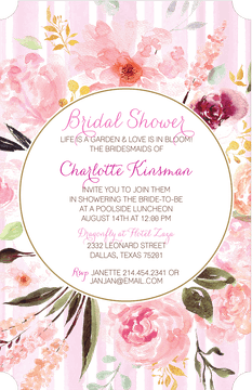 Handpainted Pink Floral Invitation