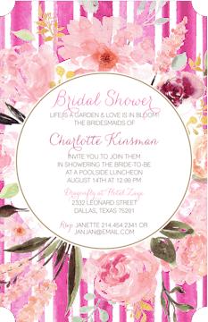 Handpainted Pink Floral Invitation