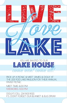 Live Love Lake Invitation