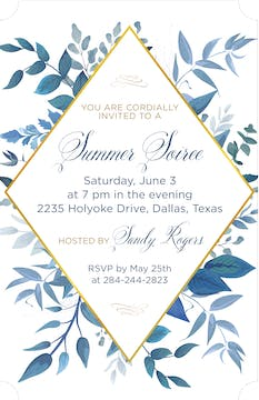 Blue Leaves Invitation