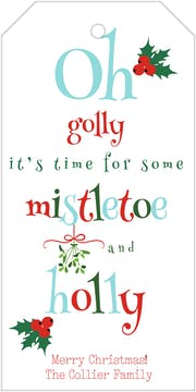 Mistletoe And Holly Hanging Gift Tag