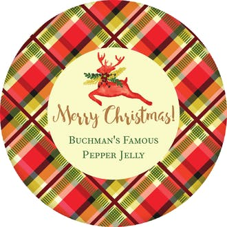 Plaid Watercolor Deer Round Gift Sticker