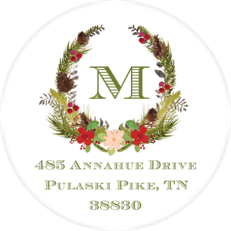 Botanical Wreath Round Return Address Sticker