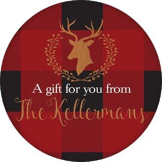 Buffalo Plaid Deer Silhouette Round Gift Sticker