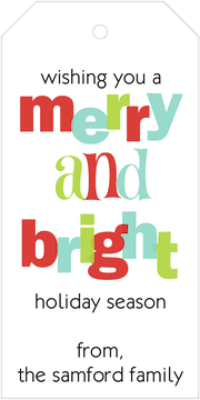 Merry and Bright Hanging Gift Tag