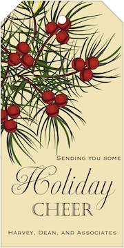 Holly Berry Branch Hanging Gift Tag