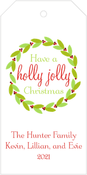 Holly Wreath Hanging Gift Tag