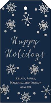 Navy Foiled Snowflake Hanging Gift Tag