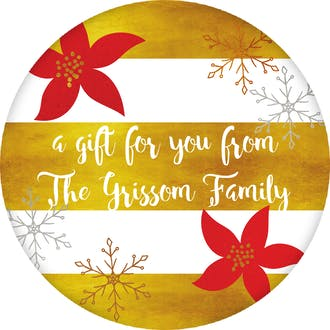 Golden Striped Poinsettia Gift Sticker