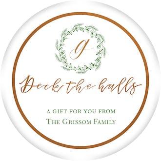 Wreath Deck the Halls Gift Sticker