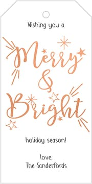 Rose Gold Merry and Bright Hanging Gift Tag