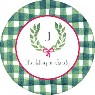 Painted Gingham and Wreath Gift Sticker