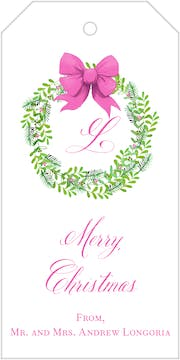 Pink Bow Evergreen Wreath Gift Tag