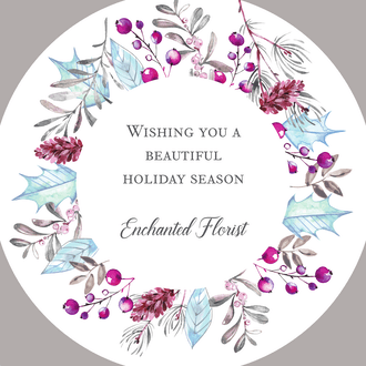 Enchanted Flora Circle Holiday Greeting Card