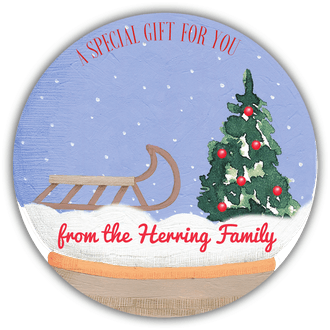 Snow Globe Scene Gift Sticker