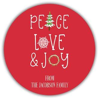 Peace Love & Joy Gift Sticker