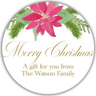 Watercolor Poinsettia Round Gift Sticker