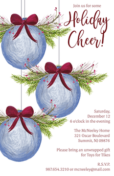 Watercolor Ornaments Holiday Invitation