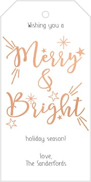 Merry and Bright Foiled Hanging Gift Tag