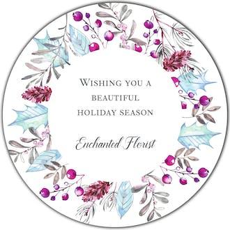 Enchanted Flora Circle Holiday Greeting Card