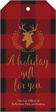 Buffalo Plaid Deer Silhouette Hanging Gift Tag