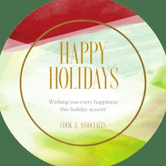 Shades of Red and Green Circle Holiday Greeting Card