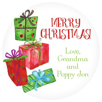 Watercolor Wrapped Presents Gift Sticker