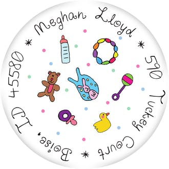 Personalized Character Baby Stuff Round Sticker