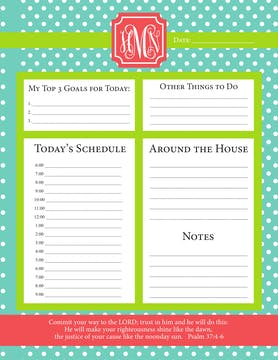 Mint Lime Poppy Dots Daily Schedule Notepad
