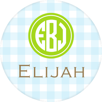 Light Blue Gingham Water-resistant Label